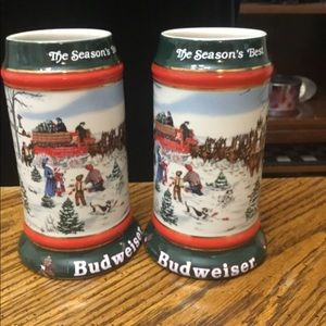 2 1991 Anheuser Busch Christmas Holiday Stein